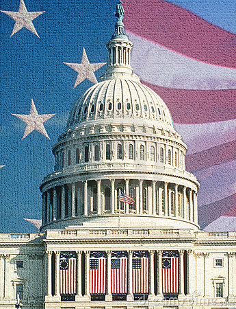 U.S. Capitol with American Flags