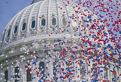 U.S Capitol Building with balloons