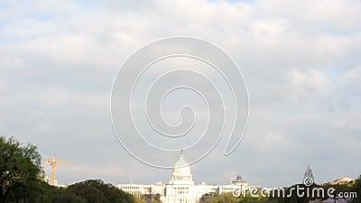 U S Capitool onder de Wolken stock footage