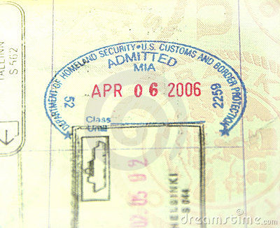 U.S. Customs and Immigration Passport Stamp