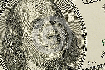 U.s. dollar bill, benjamin franklin