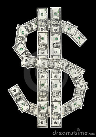 U.S. dollar symbol made of var