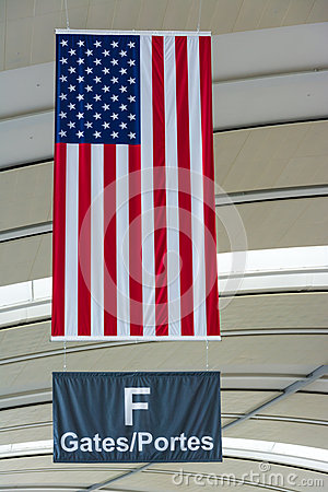 U.S.A Flag in einem internationalen Flughafen