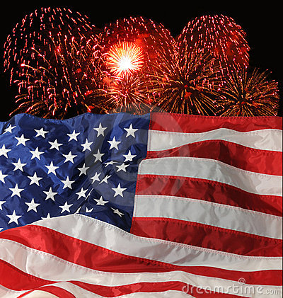 U.S. Flag and Fireworks