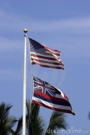 U.S. and Hawaii State Flags