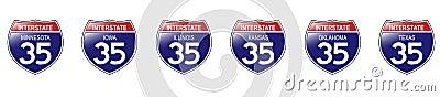 U.S. Interstate 35 Signs, Minnesota to Texas.