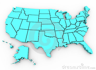 U. S. A. Map - United States 3D Render