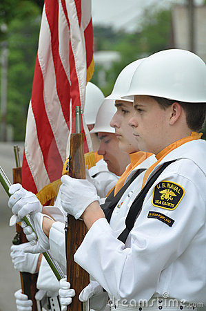 U.S. Naval Sea Cadets at Memorial Day Ceremony Editorial Stock Image