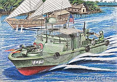U.S. patrol boat inspections Vietnamese junks