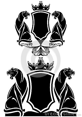 图库插图: black panther coat of arms emblem - royal crown over