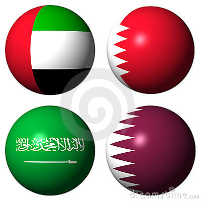 UAE Bahrain Saudi Arabia Qatar flags