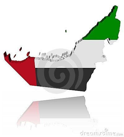 UAE map flag with reflection