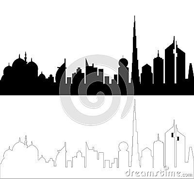 UAE Skyline Silhouette