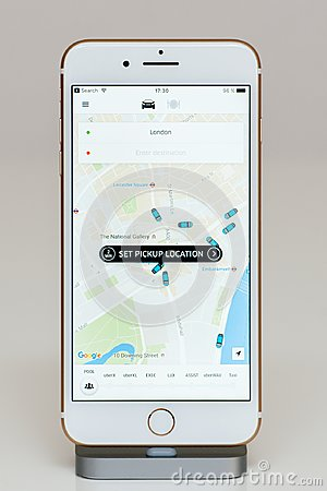 Free Uber App On IPhone 7 Plus The Application Software Stock Photography - 99667912