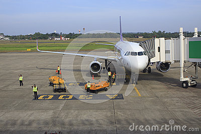 UBON RATCHATHANI THAILAND - Nov21 - thai airway plane parking on Editorial Stock Photo