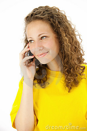 Ucasian woman is calling with a mobile phone