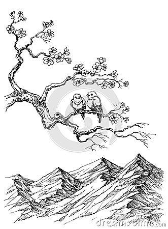 Uccelli della primavera illustrazione vettoriale - Primavera uccelli primavera colorazione pagine ...
