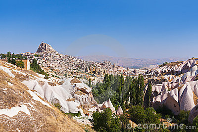 Uchisar cave city in Cappadocia Turkey