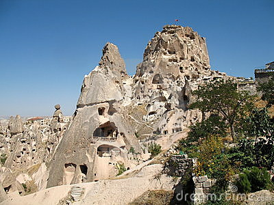 Uchisar cave city in Cappadocia, Turkey