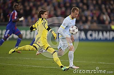 UCL action: football goalkeeper kicks the ball