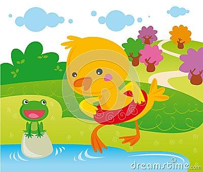 Uczy się pływanie