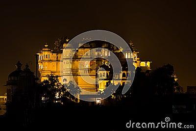 Udaipur City palace at night