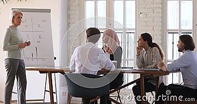 Udane, dojrzałe kobiety-trenerki w biznesie, odbywające seminarium edukacyjne zbiory wideo