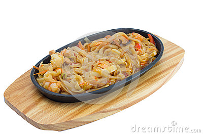 Udon noodles in plate isolated on white background