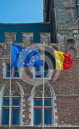 UE and belgian flag
