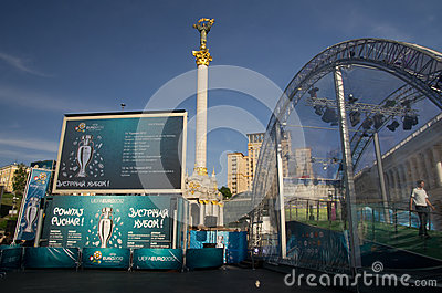 Uefa 2012 trophy comes to kiev,ukraine Editorial Stock Photo