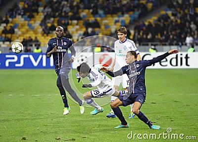 UEFA Champions League game Dynamo Kyiv vs PSG Editorial Stock Photo