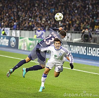 UEFA Champions League game Dynamo Kyiv vs PSG Editorial Stock Image