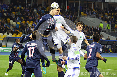 UEFA Champions League game Dynamo Kyiv vs PSG Editorial Stock Image