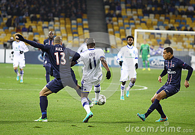 UEFA Champions League game Dynamo Kyiv vs PSG Editorial Photography