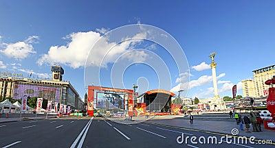 UEFA EURO 2012 Fan Zone in Kyiv Editorial Stock Photo