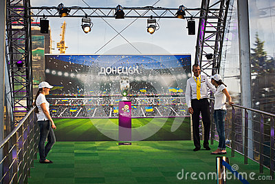UEFA Trophy Tour in Donetsk Editorial Stock Image