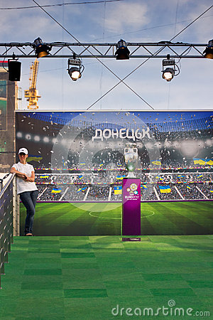 UEFA Trophy Tour in Donetsk Editorial Photography