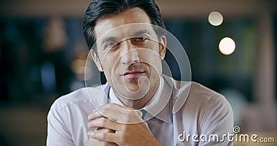 Ufnego fachowego mężczyzna uśmiechnięty portret Korporacyjnego biznesu drużyny pracy biurowy spotkanie Kaukaski biznesmen i zdjęcie wideo