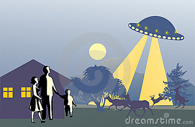 UFO above family