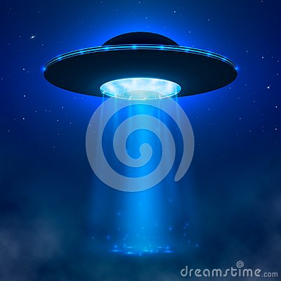 Free UFO. Alien Spacecraft With Light Beam And Fog. UFO Vector Illustration Stock Image - 104111381