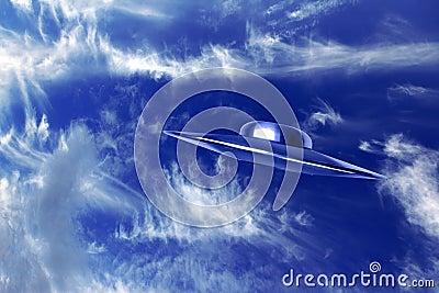 UFo and  beautiful blue sky