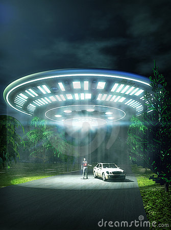 Free Ufo Car Abduction Royalty Free Stock Images - 9665909