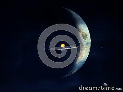 UFO contra la luna