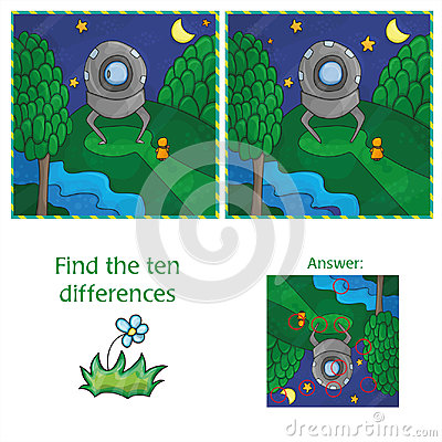 Free UFO Find 10 Differences. Educational Game For Children Stock Images - 98689714