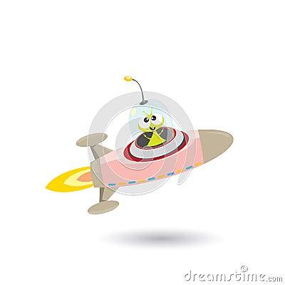 Free Ufo. Green Alien Vector. Flying Saucer Stock Photo - 66249890