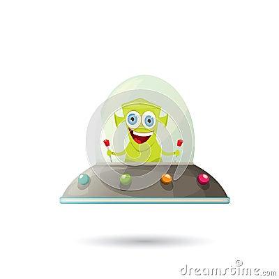 Free Ufo. Green Alien Vector. Flying Saucer Stock Photo - 67032530