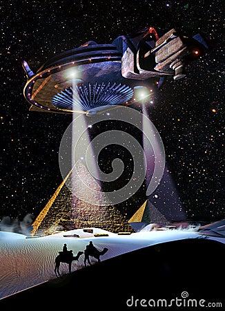 UFO over the pyramids