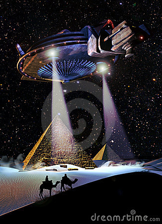 Free UFO Over The Pyramids Stock Image - 18217471