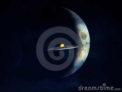 UFO tegen de Maan