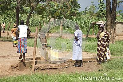 Uganda Well Water Pump Editorial Stock Photo